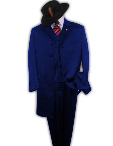 Men's  Dark Navy Blue Zoot Fashion Long Zoot Suit - Pimp Suit - Zuit Suit