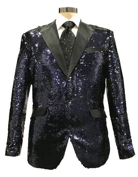 Mens Reversible Sequin Black & Silver Blazer with Black Satin Peak Lapel