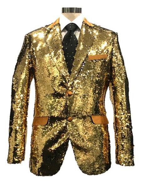 Mens Reversible Sequin Silver & Gold Blazer with Peak Lapel