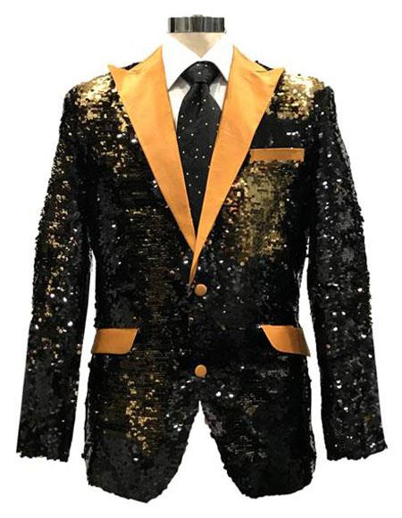 Men's Reversible Sequin Black & Gold Blazer with gold Satin Peak Lapel