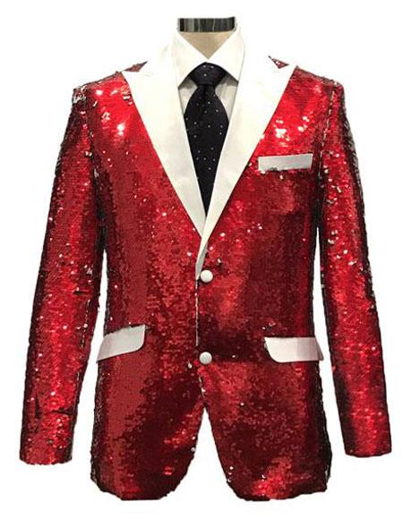Red ~ White Two Button Shiny Pattern Jacket For Men