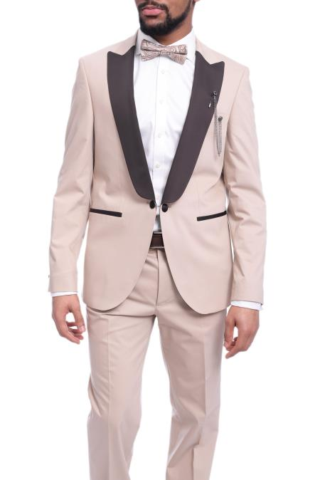 Men's Peak Lapel Solid Tan ~ Beige Tuxedo With Dark Brown Lapel With Free Vest