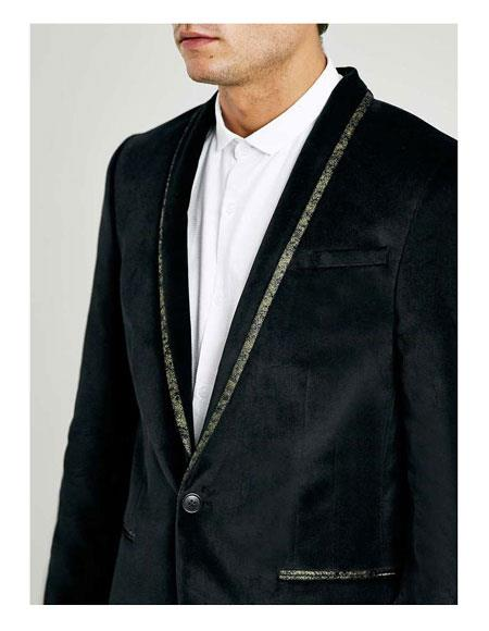 Men's  One Button Shawl Lapel Black Tuxedo