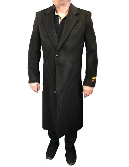 Alberto Nardoni Men's Dress Coat Brown & Black Mixed Tweed ~ Herringbone Houndstooth Cashmere Blend Overcoat ~ Long Men's Dress Topcoat -  Winter coat