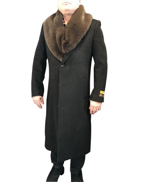 Brown & Black Mixed Two Handwarmer Side Pockets Notched Lapel Dress Coat For Mens