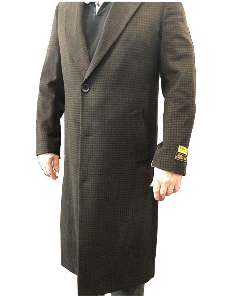 Mens Brown & Black Mixed Tweed ~ Herringbone Houndstooth Cashmere Blend Overcoat
