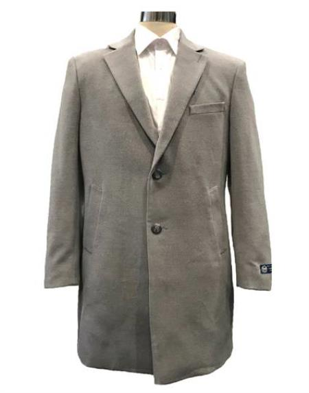 Mens Dress Coat Single Breasted Notch Lapel Light Grey Overcoat ~ Topcoat