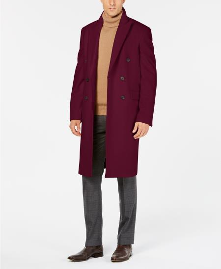 Men's Dress Coat Double Breasted Overcoat Peak Lapel Slim Fit Ruby