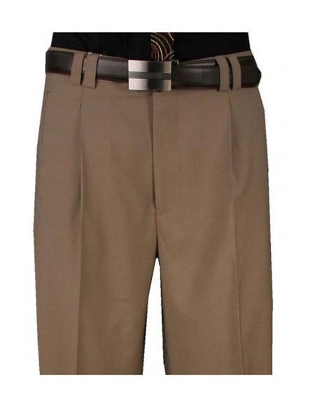 1930s Mens High Waisted Pants, Wide Leg Trousers Mens Single Pleat Wide Leg 1 Pure Wool Khaki Pant $99.00 AT vintagedancer.com