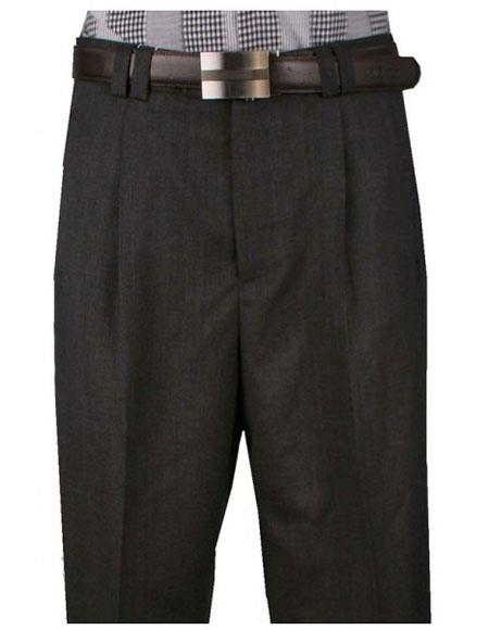 Mens Light Weight Wide Leg Single Pleat Charcoal Pant unhemmed unfinished bottom