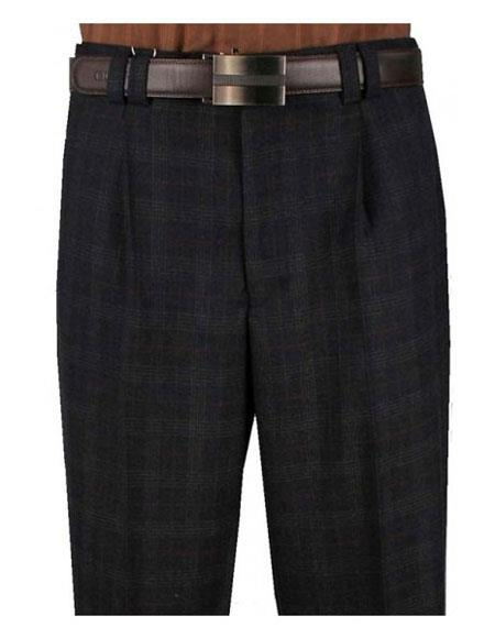 1930s Men's High Waisted Pants, Wide Leg Trousers Mens Plaid Charcoal Single Pleat Wide Leg Striped Pattern Pant $99.00 AT vintagedancer.com