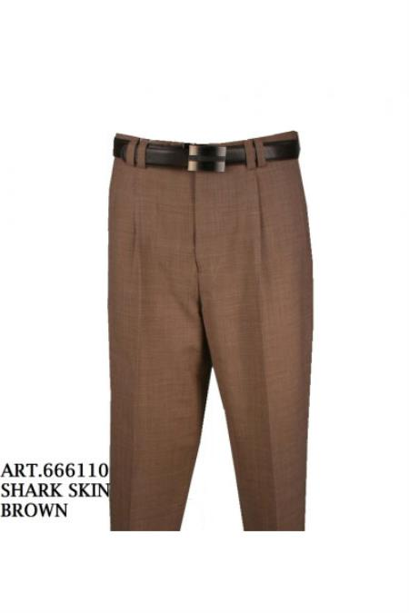 Mens Single Pleat Light Weight 100% Pure Wool Sharkskin Brown Pant unhemmed unfinished bottom