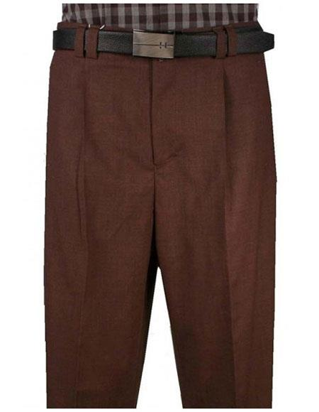 Mens Wide Leg Single Pleat Light Weight Brown Pant unhemmed unfinished bottom