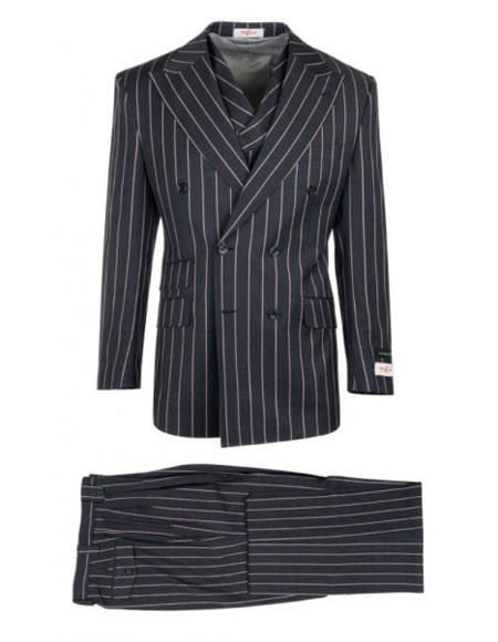 Mens Authentic 100% Wool Super 150s Dark Navy Striped Pattern Double Breasted Two Button Suit