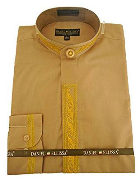 Mens Collarless Embroide Gold Shirt