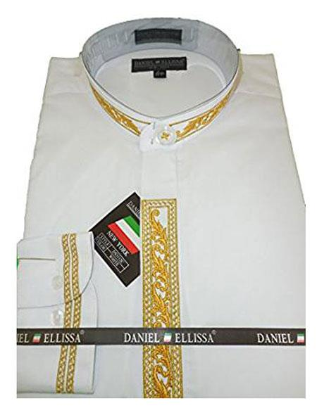 Daniel Ellissa Mens Embroide Collarless White