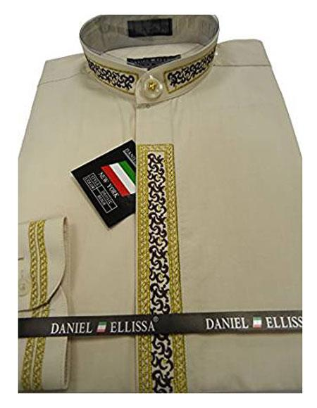 Daniel Ellissa Mens Beige Embroide Collarless Shirt