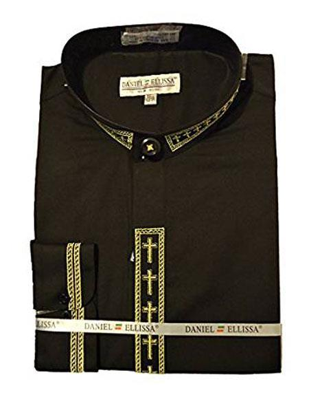 Daniel Ellissa Mens Collarless Black