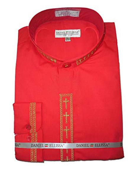 Daniel Ellissa Mens Embroide Collarless Red Shirt