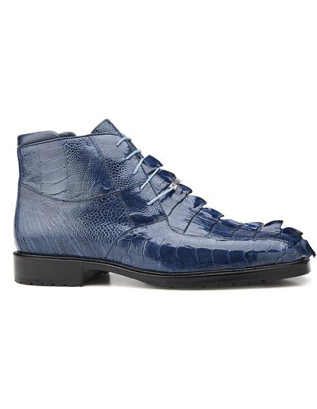 Men's Authentic Genuine Skin Italian Brand Cushoned Insole Leather Lining Blue Jean Lace Up Shoe