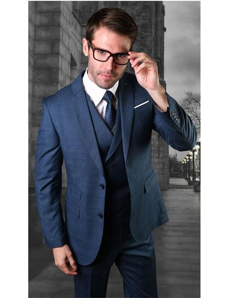 Mens Two Button Single Breasted Blue Notch Lapel Suit