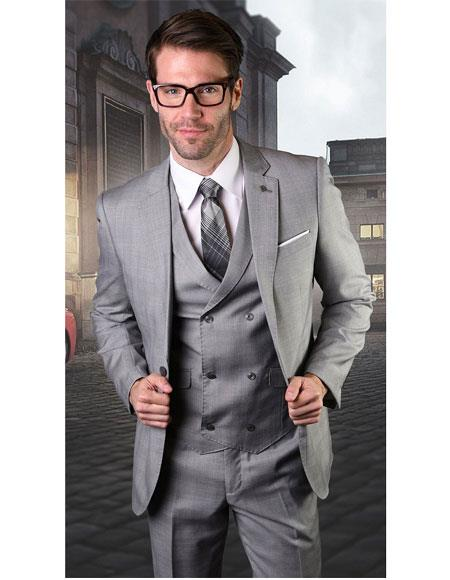 Mens Gray Single Breasted One Button Suit