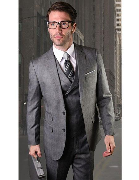Mens Two Button Charcoal Single Breasted Charcoal Suit