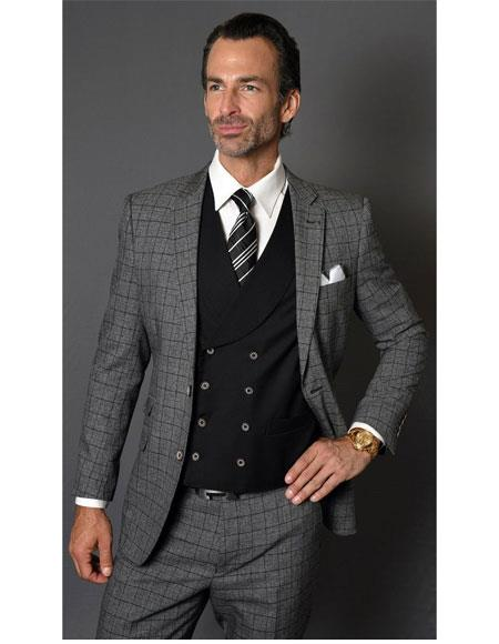 Mens Checked Pattern Two Button  Charcoal Suit