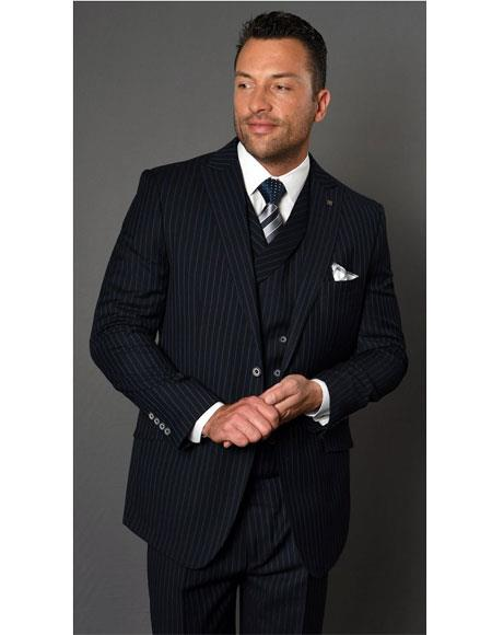 Mens Two Button Single Breasted Striped Pattern Dark Navy Suit