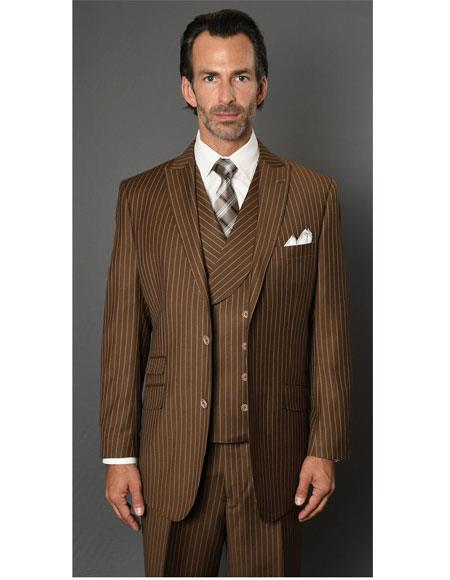 Men's Striped Pattern Bronze ~ Camel Two Button Suit