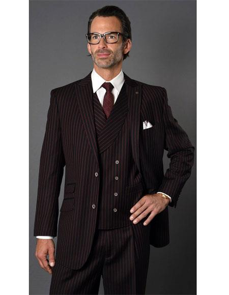 Men's Black ~ Red  Two Button Striped Pattern Suit