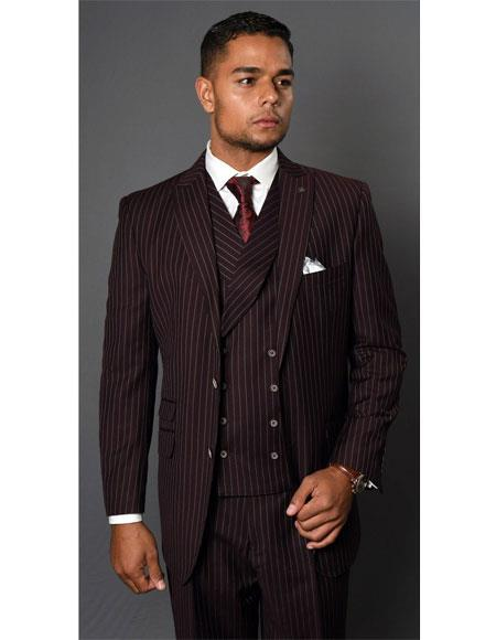 Mens Maroon  Striped Pattern Two Button Suit