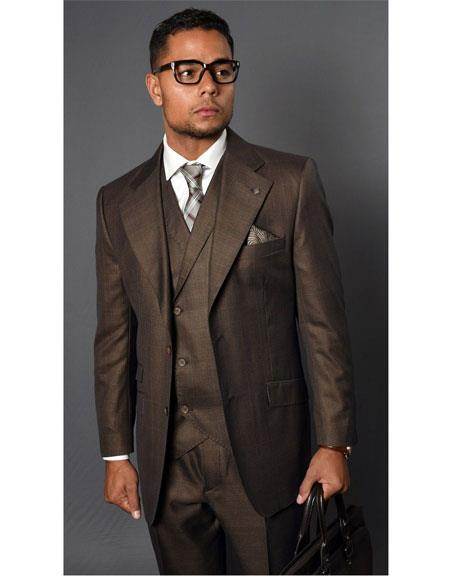 Men's Vernaza Coffee Two Button Suit