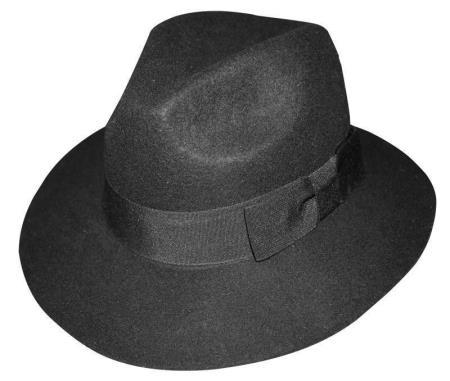 New Men's Black Fedora Trilby Mobster Hat