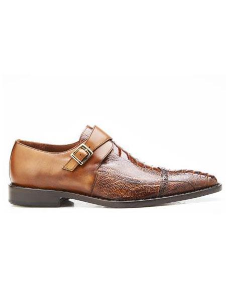 Mens Authentic Genuine Skin Italian Brand Slip On Leather Lining Single Buckle Antique Almond Shoe