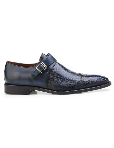 Mens Authentic Genuine Skin Italian Brand Slip On Leather Lining Single Buckle Black Shoe