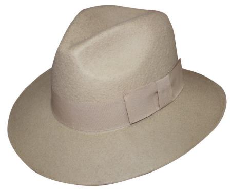 Mens 100% Wool Fedora Trilby Mobster Khaki Finely Crafted Hat
