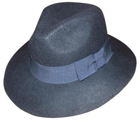 New Mens 100% Wool Fedora Trilby Mobster Hat Navy