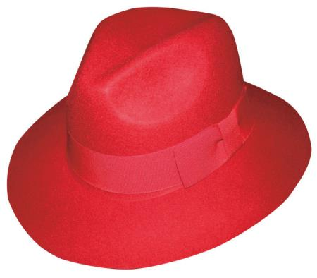 New Mens 100% Wool Fedora Trilby Mobster Hat Red