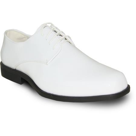 VANGELO Men Dress Shoe For Men Perfect for Wedding TUX-1 Oxford Formal Tuxedo  White Patent - Wide Width Available - Men's Shiny Shoe