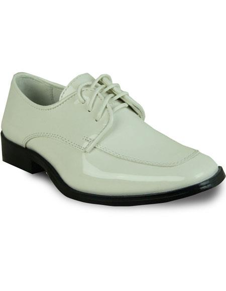 VANGELO Boy TUX-3KID Dress Shoe Formal Tuxedo for Prom & Wedding Ivory Patent