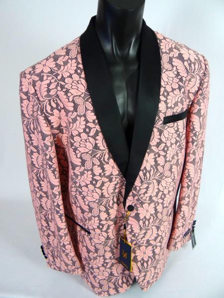 Men's Pink Black Shawl Lapel Jacket