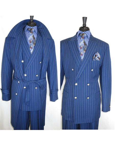 Mens Dress Coat Two Button Double Breasted Peak Lapel Blue Suit