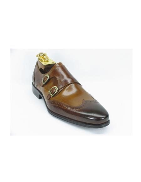 Mens Fasion Shoes by Carrucci - Double Buckle Brown / Cognac