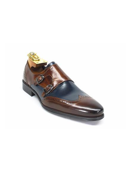 Mens Fashion Shoes by Carrucci - Double Buckle Brown / Navy