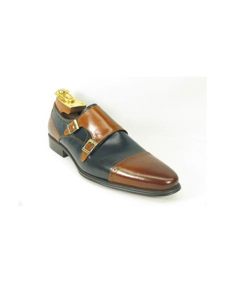 Mens Brown / Navy Double Buckle Block Heel Fashion Shoes