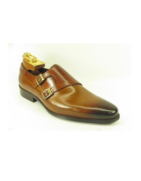 Mens Slip On Shoes by Carrucci - Double Buckle Cognac