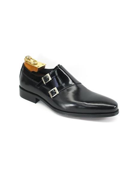 Mens Fashion Black Dress Shoe by Carrucci - Double Buckle Black / Black Patent - Mens Shiny Shoe