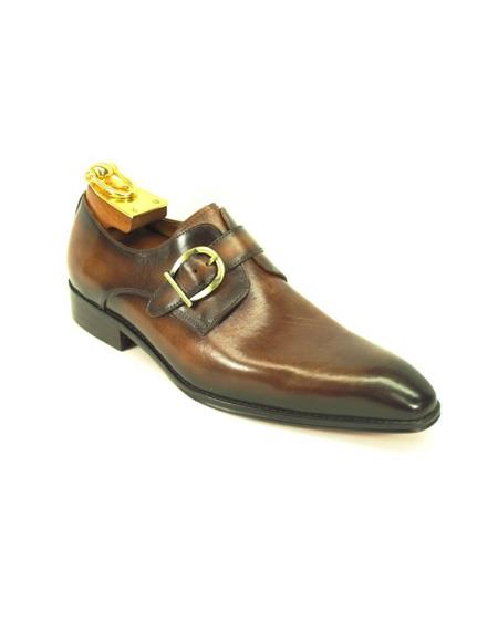 Mens Slip-On Shoes by Carrucci - Side Buckle Chestnut