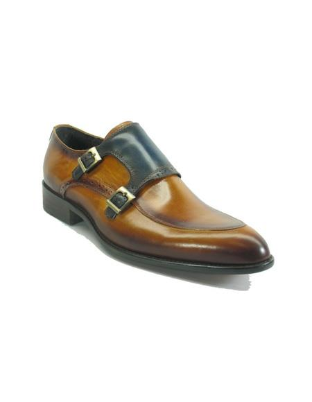 Mens Slip On Shoes by Carrucci - Double Buckle Cognac / Navy